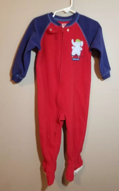 Child Of Mine Carter's Red And Blue Fleece Footed Pajamas Size 24 Months