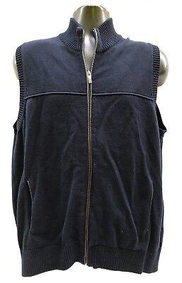 Southern Pines Navy Blue Knit Zip Vest Leather Trim Mens Sz L
