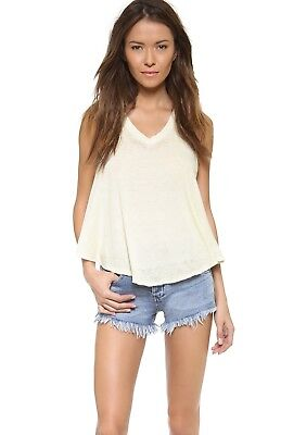 NWT We The Free People Breezy Tank Top Shirt Anthropologie Green Celery S V neck