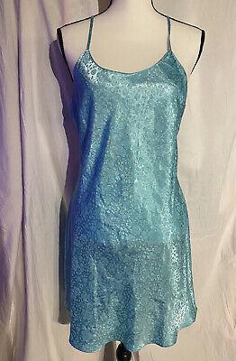 Secret Treasures Satin Chemise Negligee Nightgown Blue Diva Teal Large