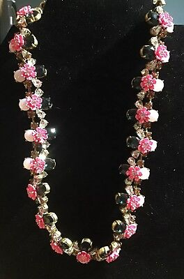 J.Crew Women's Statement Necklace Pink Flowers and  Multicolor Jewels for sale  West Islip