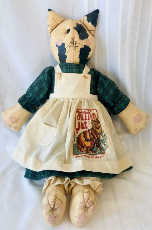 "Vtg Folk Art Calico Cat Doll 24"" Handmade Painted Americana Rustic Signed 1990"