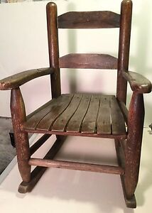 Vintage Childs Wooden Oak Rocking Chair Kids Doll Small