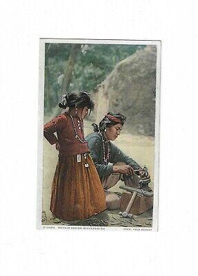 Antique Vtg Postcard Navajo Indian Silversmith Girl Watching Fred Harvey
