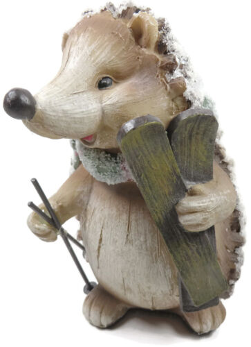 Hedgehog Carrying Skis Figurine Green Scarf Pine Cone Resin Ski Poles Winter
