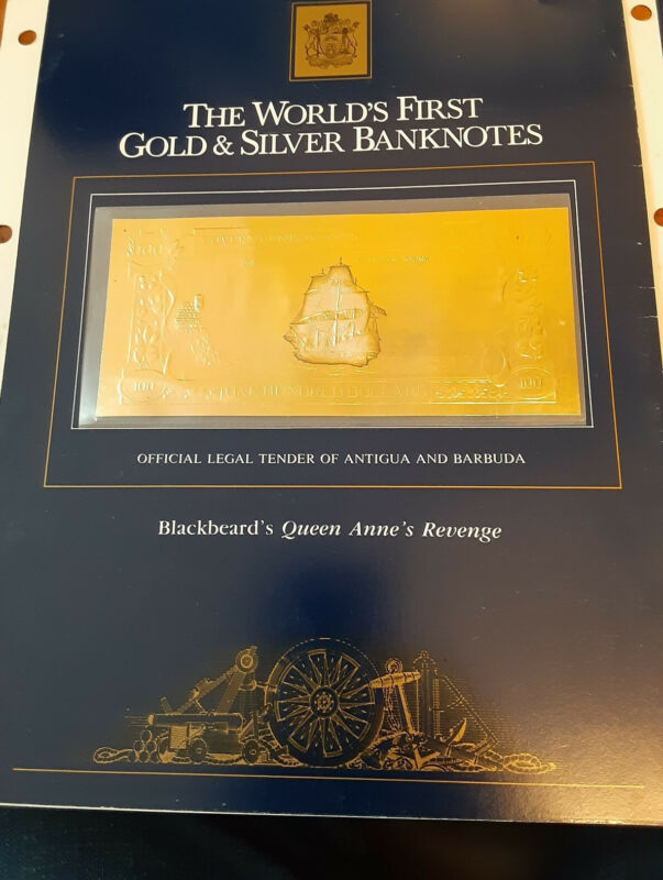 the world first gold and silver bank notes 1981 Antigua and Barbuda