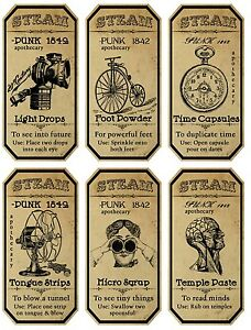 Halloween Steampunk 6 Large Bottle Apothecary Label Glossy ...