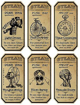 Halloween Steampunk 6 large bottle apothecary label glossy stickers scrapbooking