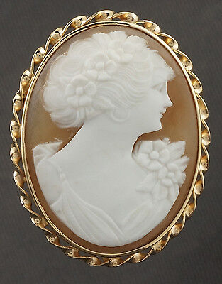 Large, Vintage, Solid 14K Yellow Gold Etruscan Rope, Shell Cameo Brooch, Pendant