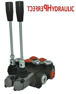 2 Spool Hydraulic Directional Control Valve 11gpm 40l 1x Single 1x Double Acting
