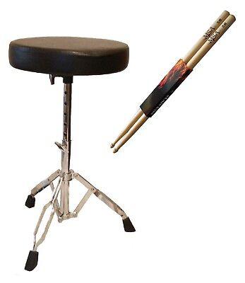 SCHLAGZEUGHOCKER, Drumhocker, Schlagzeug Sitz verstellbar+1xDrumsticks 5B GRATIS