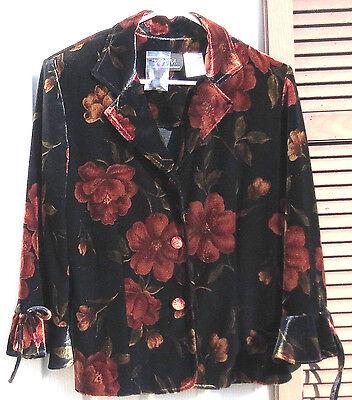 Melissa Harper(MHM)Floral Print Blouse–Size 12 Women's Top–Black & Orange Flower Harper Floral Print