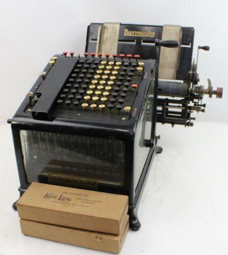 Antique Burroughs Adding Machine High Keyboard Beveled Glass Sides Vintage