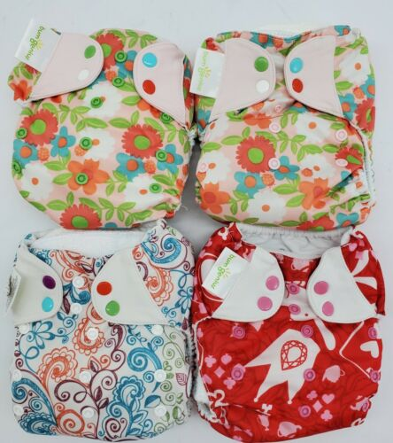 Girls Bumgenius 3 In 1 Floral Colorful Pocket Cloths Diapers Inserts Print Lot  - $80.00