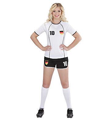 FUSSBALLSPIELERIN DEUTSCHLAND FUßBALLTRIKOT FUßBALL OUTFIT TRIKOT GR. L - Kostüm Schwarzen Trikot