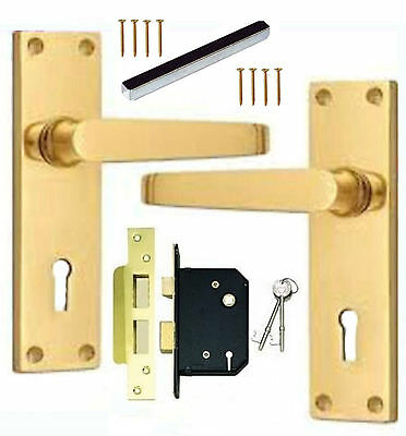 Polished Brass Victorian Lock Straight Lever Door Handles + 76mm 3 Lever Lock Victorian Lever Lock