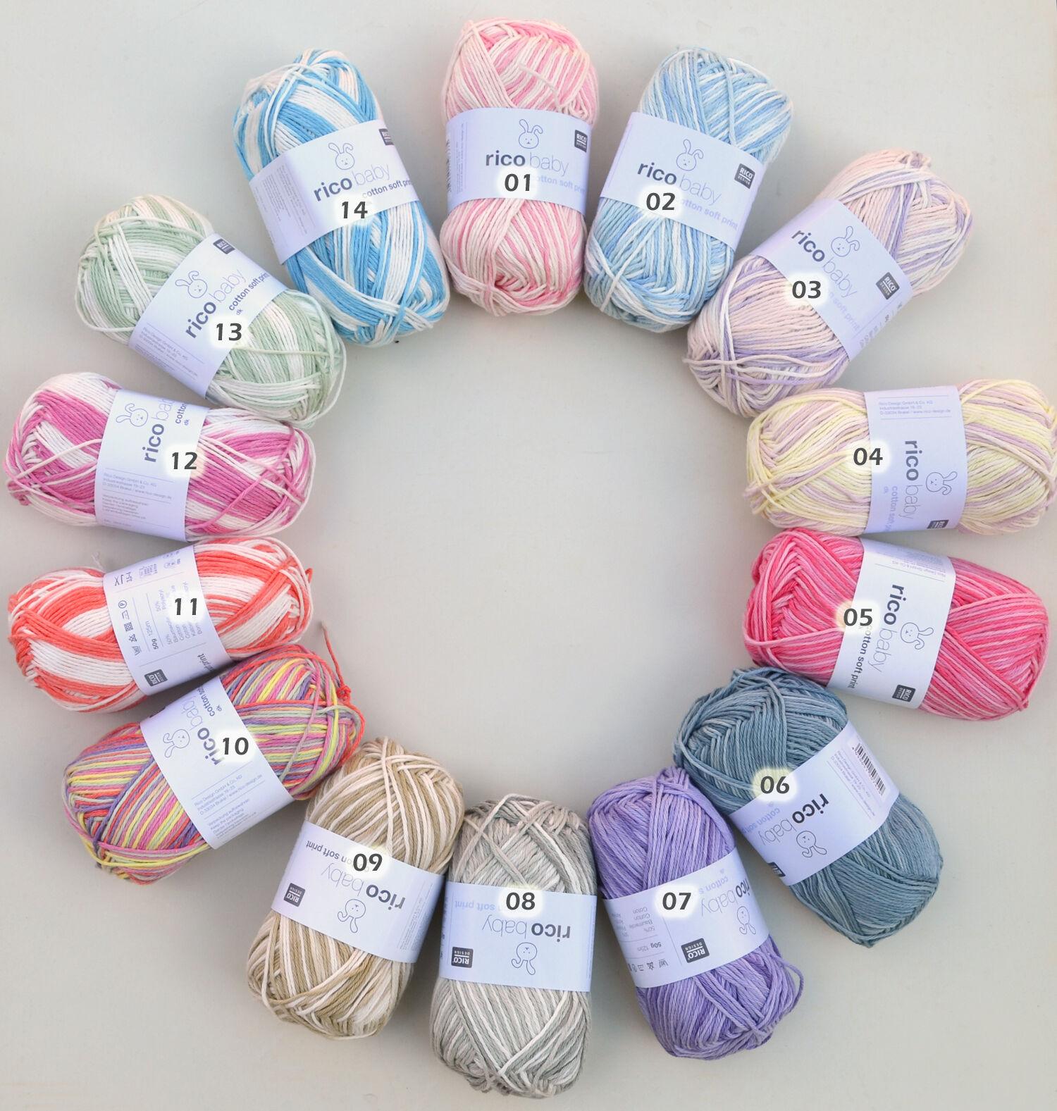 5,98€/100g Rico Baby cotton soft print, 50g Babywolle zum Stricken und Häkeln,
