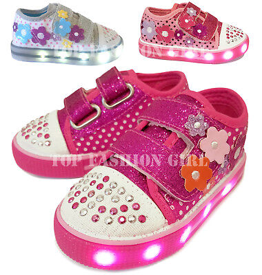 Girls Canvas Shoes - Light Up Girls Baby Toddler Glitter Strap Canvas Sneaker Tennis Shoe Pink Purple