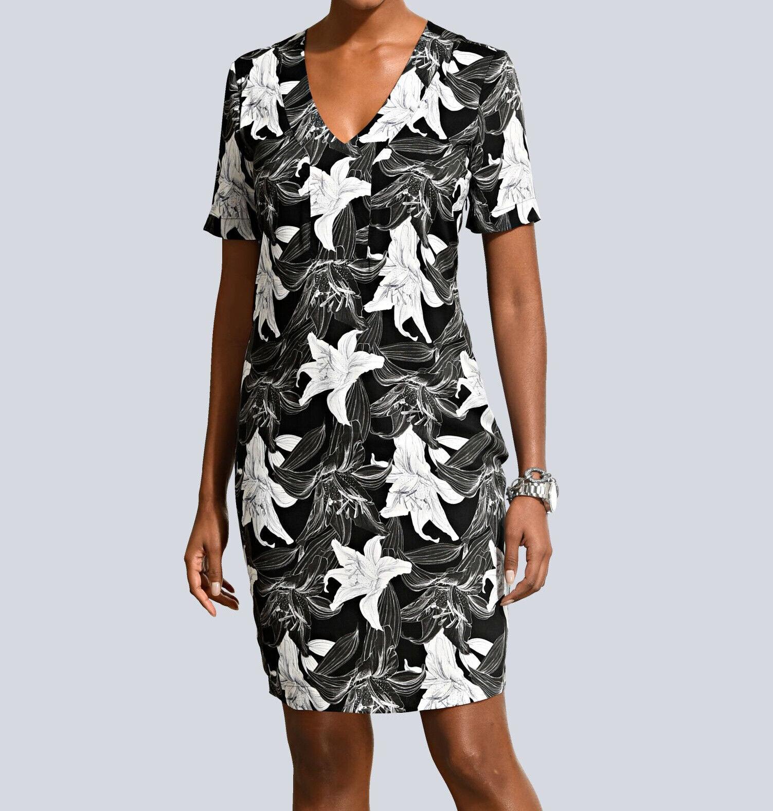 details zu alba moda druck-tunikakleid, schwarz. neu!!! kp 89,95 € sale%%%