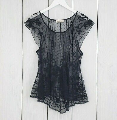 ABERCROMBIE & FITCH sz Medium Black Lace Cap Short Sleeve Top Sheer Babydoll