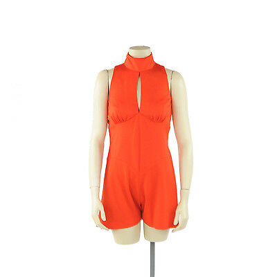 Vintage 70s Bright Red Sleeveless Mini Hot Pant Shorts Romper Mod Playsuit S