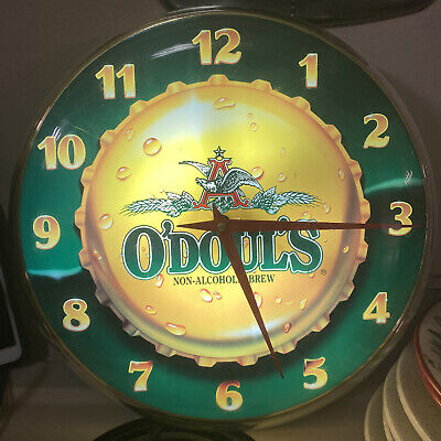 "92-93 O'Doul's Non Alcoholic Beer 14"" Light Up Clock Sign Anheuser Busch ODouls"