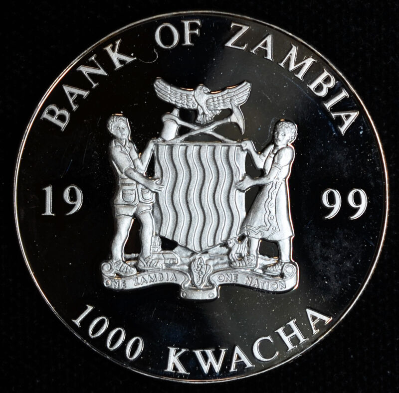 Zambia 1000 Kwacha 1999 Superb Gem Proof European Unity One Currency 200 Euro Rv