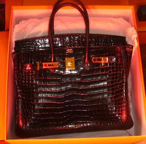 Hermes-birkin-35-cm-Black-porosus-glossy-shiny-crocodile-bag-handbag-yellow-hw