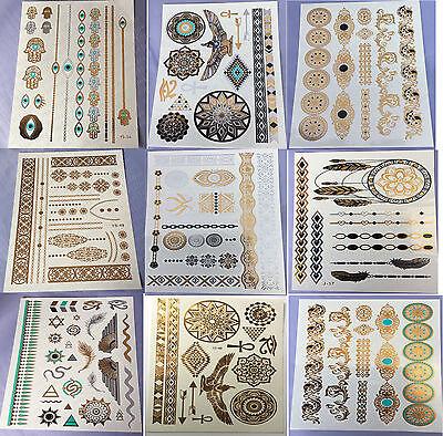 9 Sheets Temporary Disposable Metallic Tattoo Gold Silver Black Flash Tattoos Qw