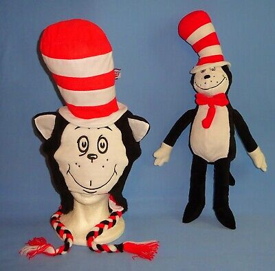 Dr. Seuss Cat in the Hat Furry Costume Hoodie Hat;Plush Cat in the Hat Doll-LOT ](Dr Seuss Cat In The Hat Costume)