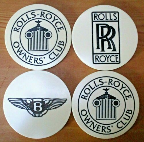 """Complete Set of Four Rolls Royce Owners Club """"Scrimshaw"""" Coasters - New in Box"""