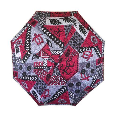 Hawaiian Print Umbrella - Hawaiian Print Red/Black/Gray Petroglyph Sea Turtle