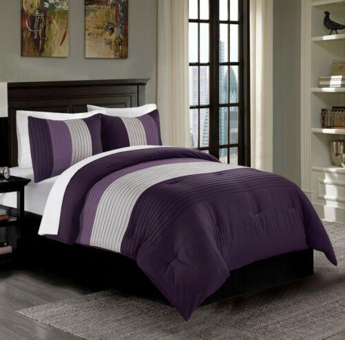 Harper 3-Piece Purple/Lavender/Gray Striped Bedding Comforte