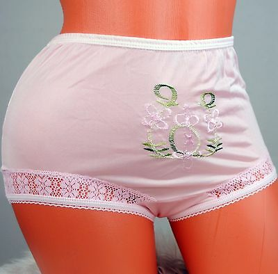 VTG Embroidered HIGH cut sissy nylon lace side XS S M brief panties 5 colors