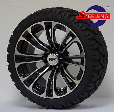 "GOLF CART 14"" VECTOR WHEELS/RIMS and 20"" STINGER ALL TERRAIN TIRES DOT RATED"