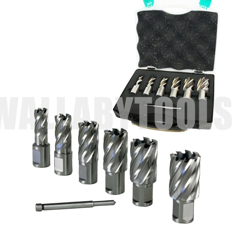 "New 6 pcs HSS Annular Cutter Set, 3/4"" Shank Magnetic Drill Set W/PIN"