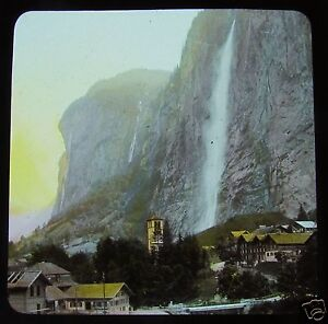 COLOUR-Glass-Magic-lantern-slide-THE-STAUBBACH-FALLS-C1890-SWITZERLAND