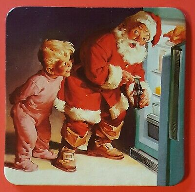 VINTAGE Coca-Cola - Santa Claus Coaster w/ Cork Back - BEST PRICE ON ebay!!!