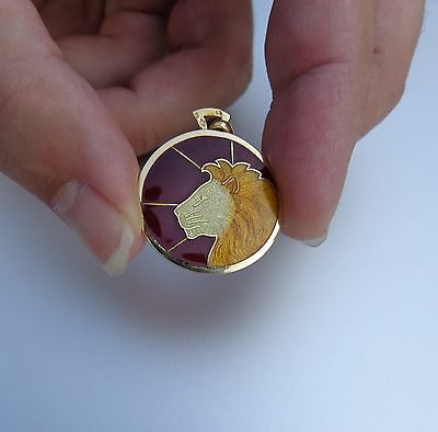 French Art Deco 18K Gold Enamel Glass Lion Leo Zodiac Arthus Bertrand Pendant !