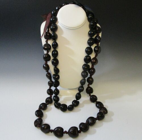 "Vintage Black Botanical Kukui Nut Bead Hawaii Long Lei Necklace 28"" & 38 "" SET 2"