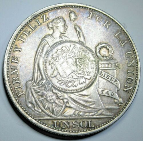 1894 Guatemala Peso Countermarked On 1893 Peru Un Sol Antique Counterstamp Coin