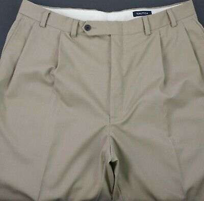 Nautica Wool Men's 44 X 30.5 Pleated Khaki Chino Casual Pants Brown Slacks E5