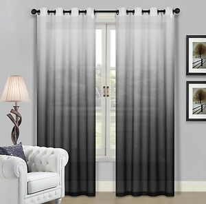 Beverly Hills Ombre Sheer Grommet Window Panels a Pair of 2 Panels 52