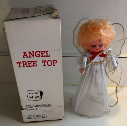 Vintage Angel Tree Top Electric Lighted Blinking w Box