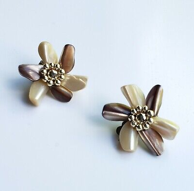 Vintage clip-on earrings polished shell chunk flowers white and brown