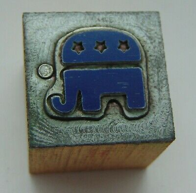 Printing Letterpress Printers Block Republican Elephant Symbol
