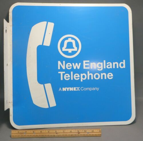 """Vintage New England Telephone Metal Sign Telephone Receiver Wall Sign 18"""""""