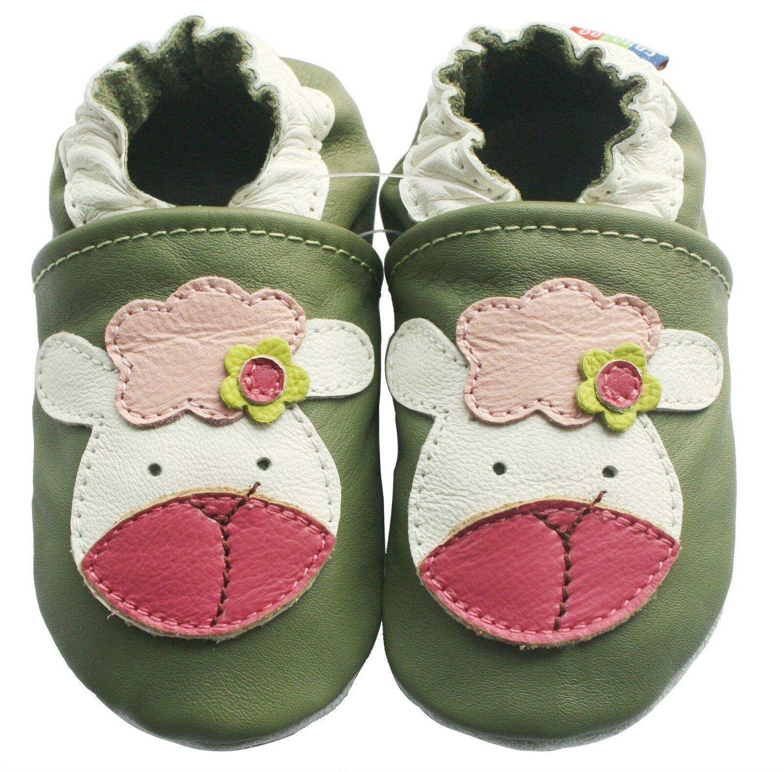carozoo little flower red 0-6m new soft sole leather baby shoes