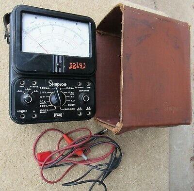 Vintage Simpson 260 Series 3 Multi-meter W Case Probes Volt Ohm Milliammeter