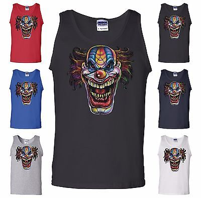Evil Mad Clown Face Tank Top Scary Horror Movie Crazy Insane Joker Smiling Clown - Scary Clown Face